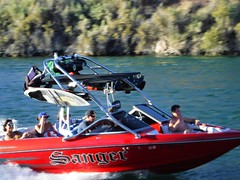 Fast red boat (thomasgorman1) Tags: fun fast red boat speed river people smiling recreation boating fujifilm colorado arizona candid