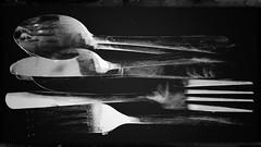 Last supper-11667 (Poetic Medium) Tags: stilllife utensils blackandwhite snapseed multipleexposure texture ipod