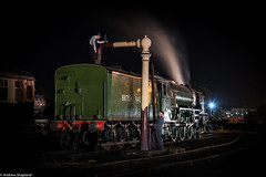 Topping up the Tender (Articdriver) Tags: didcotrailwaycentre steam locomotive railways trains a1slt 60163 tornado shed night water crew driver fireman greatwestern