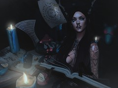 In The Air Tonight (Arwen Clarity) Tags: avi avatar mesh life secondlife second sl 2ndlife people lelutka portrait witch glow candle spell spellbook antlers fantasy potion ghostkitty