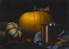 A Painted Pumpkin (Lisa Bell Jamison) Tags: pumpkin gourd cup copper leaves autumn fall stilllife lightpainting ale orange blue dark lowkey