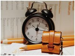 travel time_orange decorations (raisalachoque) Tags: stilllife leather bag time seoul pencil note orange alarmclock clock flickrfriday orangedecorations
