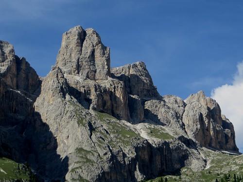 Piz Selva (2940 m), Torri del Sella, route du passo di Sella, Canazei, Val di Fassa, province de Trente, Trentin-Haut Adige, Italie.