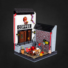 Café shop (Cesbrick) Tags: lego diorama cesbrick café shop charming coffee vespa doozy table chair vignette