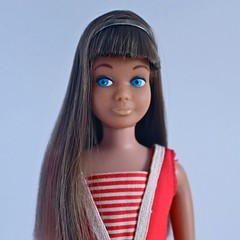Grace (DeanReen) Tags: vintage 1960s 60s 1964 64 1965 65 1966 66 straight leg standard brunette brownette skipper barbie fashion model doll sister mattel headband swimsuit mint complete portrait sl