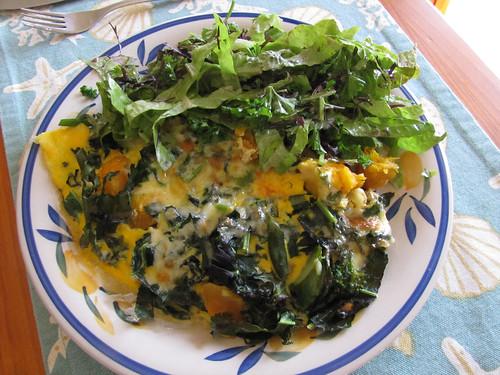 Vegetable Omelette and Garden Salad – Red Moon Sanctuary, Redmond, Western Australia