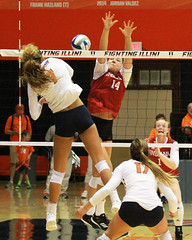With a view to a kill (RPahre) Tags: volleyball illinois champaign huffhall huff universityofillinois indiana indianauniversity kill swing jacquelinequade elizabethasdell
