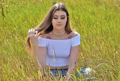 Meadow daydreams. (pstone646) Tags: youngwoman younglady beauty people portrait pretty grass meadow longhair