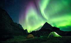 Basecamp (One_Penny) Tags: adventure arctic canon6d greenland hiking landscape mountains nature northpole outdoor photography phototour travel northernlights auroraborealis camping tent sky stars lights glow lightshow night nightphotography nightsky starrynight polarlights aurora green colorful colours wideangle camp basecamp