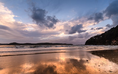 Dawn Seascape with Cloudy Sky (Merrillie) Tags: daybreak uminabeach sunrise nature australia overcast weather newsouthwales clouds nsw uminapoint beach scenery sea water cloudy landscape sky waterscape seascape centralcoast ocean dawn