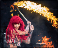 Flame thrower (Harleycy3) Tags: fire flames beauty girl redhead maelstrom tattoos londontattooshow 2017