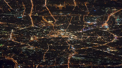 city of blinding lights by Sergey S Ponomarev - A shot from the plane above Moscow, Russia at night. Every big city is a good place for taking photos. But it is much more impressive from the height.  You can find most of the city highlights on this image. But mostly I like the veins of the roads.  Thank you for all the comments and faves, my friends.