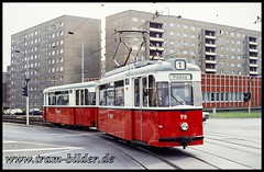 79-1991-08-26-1-Bahnhofstraße (steffenhege) Tags: plauen tram strasenbahn streetcar gothawagen gothazug 79