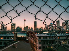 when the sun is going down (bart.kwasnicki) Tags: sydney australia sunset cityscape cityview mobile skyline