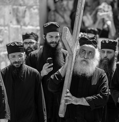 So help me God (ybiberman) Tags: israel jerusalem oldcity alquds christianquarter churchoftheholysepulchre monk cross hat gown portrait candid streetphotography excitement bw people athos