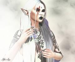 "Portrait (Mistic Aura ""Nevrose"") Tags: photoshop portrait second life sl piercing tattoo dark goth gothic nails elf ears scar lips makeup long hair skin"