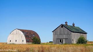 Barns in the wide open fields