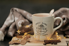 Made myself a hot cocoa, while repotting plants. (eleni m) Tags: autumn cocoa hot garden outdoor table tabletop teaspoon light stars mug lightcord dof scarf coffeebeans cinnamonstick leaves brown mess