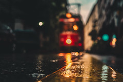 Rainy Day (WeekendPlayer) Tags: rain rainy day street bokeh bokehlicious bokehful tram train road building red vehicle istanbul city urban life turkey tr