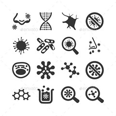 Biology Icons (Web) (hypesol) Tags: atom biology biotechnology chemical chemistry dna experiment genetics icon lab laboratory microbiology microscope molecular molecule nuclear research science scientific sign symbol test tube virus