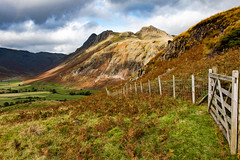 Langdale Pikes (Keith in Exeter) Tags: lakedistrict langdale pike mountain fell valley gate fence rock cliff sky cloud farm field grass nationalpark cumbria england landscape outdoor ff ruby5