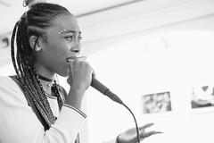 Poet and Rapper, Alyssa Hughes (Nora Kaszuba) Tags: fuji35mmf20 fujixt2 norakaszuba newlondonconnecticut artist rapper poet hygienicart alyssahughes blackwhite environmentalportrait monochrome