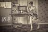 Ma Lou - Serie Vintage-Retro (www.michelconrad.fr) Tags: canon eos6d eos 6d ef24105mmf4lisusm 24105mm 24105 femme modele blanc portrait studio vintage journal ancien tapisserie coiffure retro alsace radio cuisine vintageretro noiretblanc monochrome