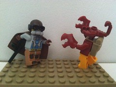 Mister Nuke & Arthropoid (Gallisuchus) Tags: custom lego minifigures pulp action superhero mister nuke mutant alien villain arthropoid