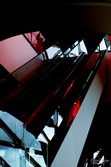 Shaw Center (TheGhostVaporVision) Tags: shawcenter architecture congress center escalator lights red glass art delta plane angle sideway ghostvaporvision photography