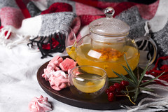 tray with honey and a cup of hot tea with pink meringues in the bed, (lyule4ik) Tags: tea winter bed warm cozy mood breakfast life morning cup details lifestyle cold comfortable home nobody soft still sweater top tray wooden hotel food relax comfort comfy rustic blanket weekend bedding bedroom decor decoration homely lazy linen loft meal modern mug organic round scandinavian serve waking white hot room autumn