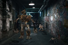 Steampunk (lewie4721) Tags: steampunk robot metal cogs spider alleyway graffiti light walls clock digital backdrop background composite art cracks manhole fantasy vinatge old