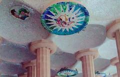 Trencadis on the Hypostyle Room's Ceiling (dodagp) Tags: spain catalonia barcelona parkguell thehypostyleroom antonigaudi trencadis glassmosaics artnouveau movementsstyles