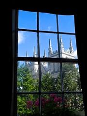 Spires, (violetchicken977) Tags: windowswednesday selbyabbey spires sashwindow pub smokeroom leadedlights windowboxes flowers cat
