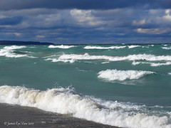 October Gales (JamesEyeViewPhotography) Tags: lake michigan water waves greatlakes clouds sky beach landscape northernmichigan lakemichigan jameseyeviewphotography