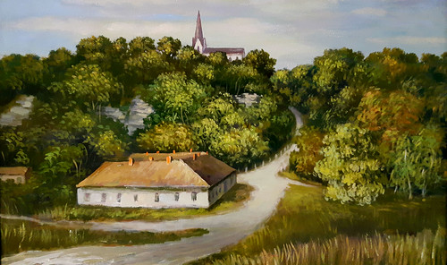 Old school building (former house of 'Moscow Pub') and Protestant Church in Koknese (Kokenhusen) in early 1960's: painting by Pavils Karps. Exhibition in Koknese, Latvia.