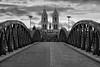 Wiwilibrucke Blaue Brucke (Don César) Tags: freiburg wiwilibrucke blaue brucke badenwürttemberg alemania germany deutschland europe europa architecture arquitectura church bridge puente iglesia bw blancoynegro