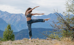 My little yoga queen (Vagabundina) Tags: yoga sport health tattoo woman girl stretch nature landscape scenery people person alps aosta green autumn fall trees grass healthylife morning