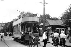 The National Tramway Museum, Crich - a Paisley tram by the Tea Rooms at Town End (photo by Roger Johnson)