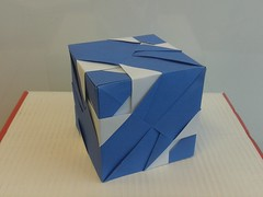 Banded cube (ISO_rigami) Tags: origami modular a4 sonobe rectangular cube polyhedron 3d
