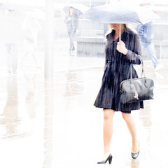 Raining high key. (Sean Hartwell Photography) Tags: rain raindrops raining umbrella woman walking highkey kingscross london street candid