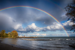 After the rain... Bronte Beach Park (KWPashuk) Tags: nikon d7200 tamron150600mm lightroom nikcollection kwpashuk kevinpashuk rainbow bronte beach harbour creek oakville ontario canada nature outdoors lake water clouds