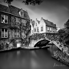 Canals And Bridges Of Bruges I (Alec Lux) Tags: bnw architecture belgium blackandwhite branches bricks bridge bruges brugge building buildings canal city daylight house landscape leave longexposure medieval nature old street tree water vlaanderen be