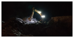 Moonlight Job (Mikko Ritala) Tags: excavator development tram night lights