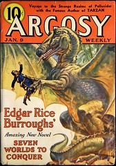 Argosy Vol. 270, No. 1 (January 9, 1937).  Cover Art by Emmett Watson (lhboudreau) Tags: magazineart pulps pulp magazine magazines pulpmagazine pulpmagazines magazinecoverart pulpmagazinecover pulpmagazinecovers magazinecover magazinecovers pulpart argosyweekly argosy argosymagazine argosyweeklymagazine edgarriceburroughs erburroughs sevenworldstoconquer volume270number1 1937 january91937 sciencefiction pulpfiction burroughs emmettwatson art artwork illustration illustrations drawing drawings dinosaur dragon prehistoric winged beast novel story pellucidar hollowearth pellucidarseries