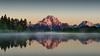 Sunrise at Oxbow Bend, Grand Teton NP (scott photos) Tags: byscottphotos grandtetonnationalpark grandtetonnp mountmoran oxbowbend snakeriver sunrise mtmoran d800 nikkor 2470mmf28 2470mm gtnp nps sky serene mountain lake tree water sunset snow landscape mist