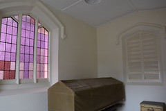 Viewing room with stained glass leaded window, Mortuary of the former Parkside Lunatic Asylum, later Glenside Hospital, South Australia (contemplari1940) Tags: viewing room stained glass window mortuary parkside lunatic asylum glenside hospital mcnamaraco contractors glen osmond bluestone deadhouse historical society