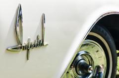 Imperial white (GmanViz) Tags: gmanviz color car automobile vehicle detail nikon d7000 chrome badge type script 1962 chrysler imperial fender wheel tire