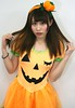 Still Over a Month Away? (emotiroi auranaut) Tags: girl woman lady adorable cute pretty beauty beautiful gorgeous charm charming halloween orange pumpkin jackolantern face hair costume female attract disappoint disappointed holiday seasonal
