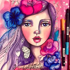 """Filming for my NEW CLASS has begun! Dundundunduuuun! ;) would you like to learn how to make Flower Girls in (mostly) ink? I'm currently filming my class for it hurrah! Finally! :) it will be called: """"She Blooms in Ink"""" :) hope you'll join! #willowing #wil"""
