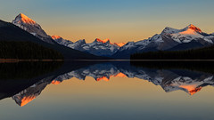 Maligne Lake (djryan78) Tags: autumn malignemountain canadianrockies landscape sunset sigma dslr reflection mountains outdoor canon fall 24105 smooth alpenglow 6d jasper queenelizabethranges malignelake clear forest calm lake rockymountains canada sigma24105 jaspernationalpark canon6d mountain alberta ca snow sky water serene